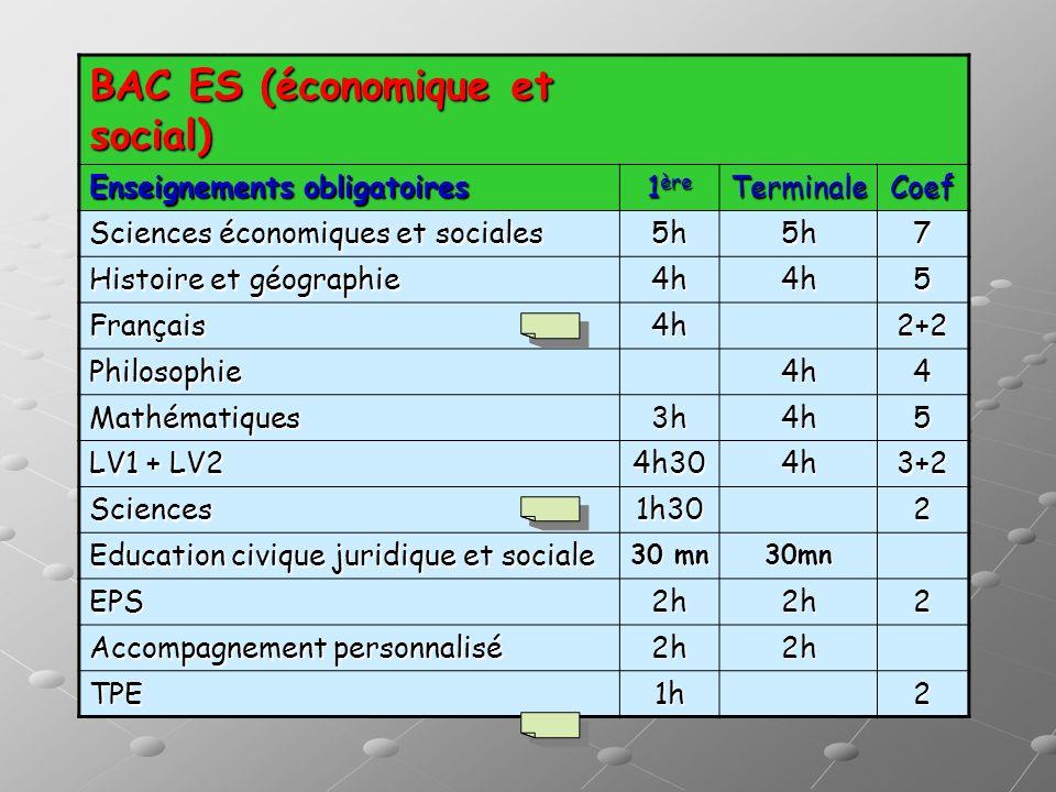 BAC ES (économique et social)