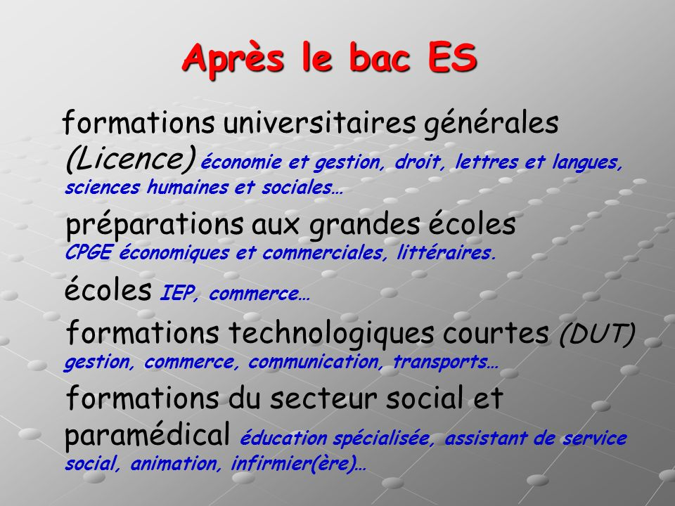 Après le bac ES formations universitaires générales (Licence) économie et gestion, droit, lettres et langues, sciences humaines et sociales…