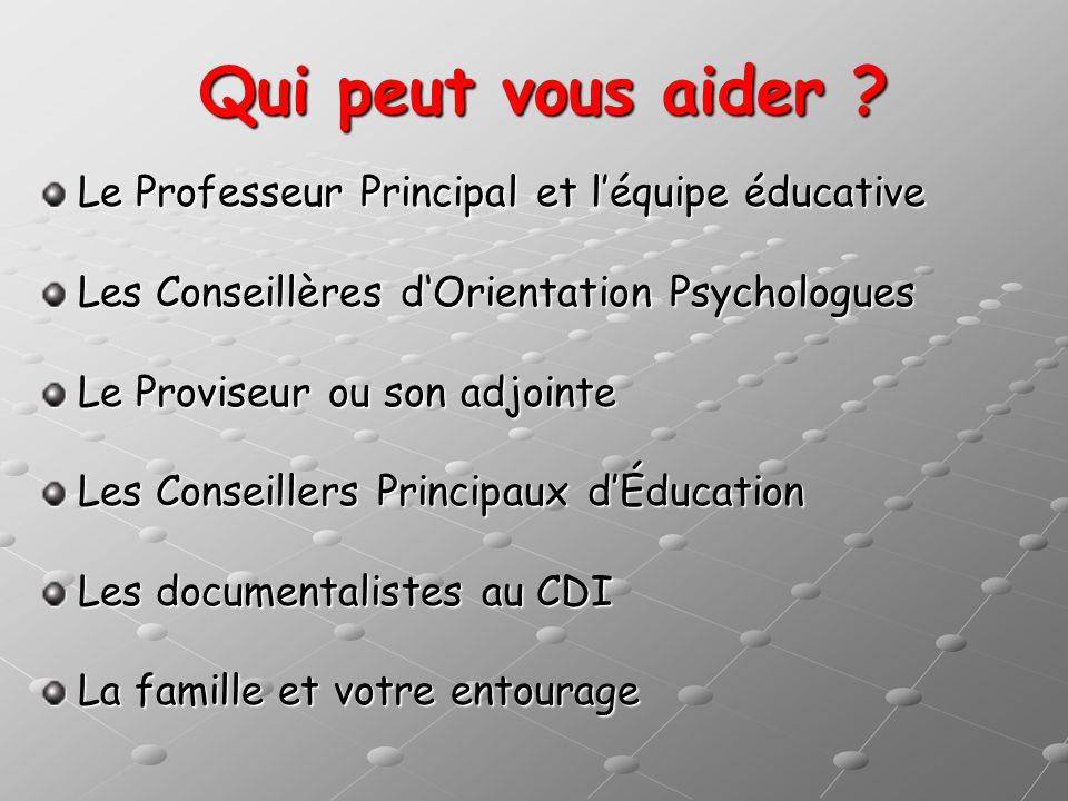 Qui peut vous aider Le Professeur Principal et l'équipe éducative