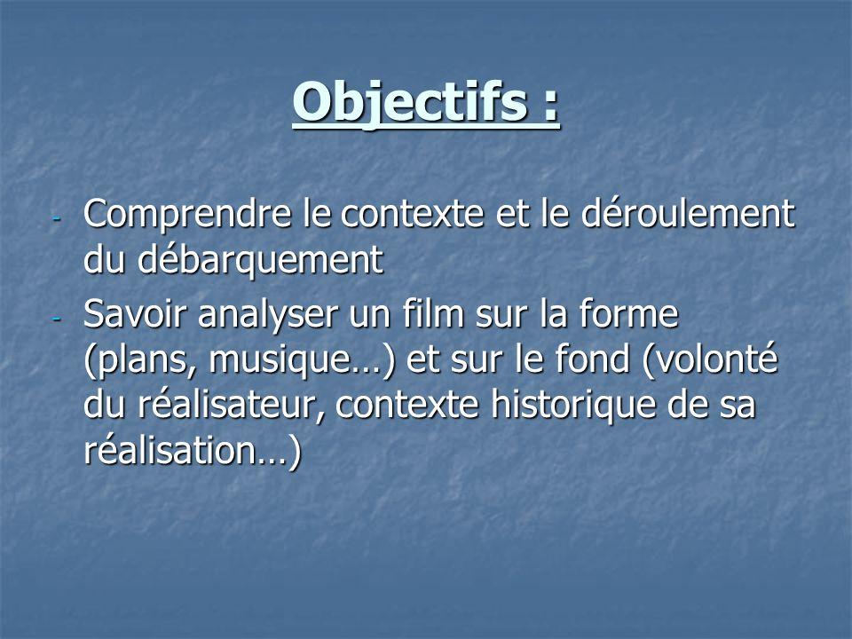 Objectifs : Comprendre le contexte et le déroulement du débarquement