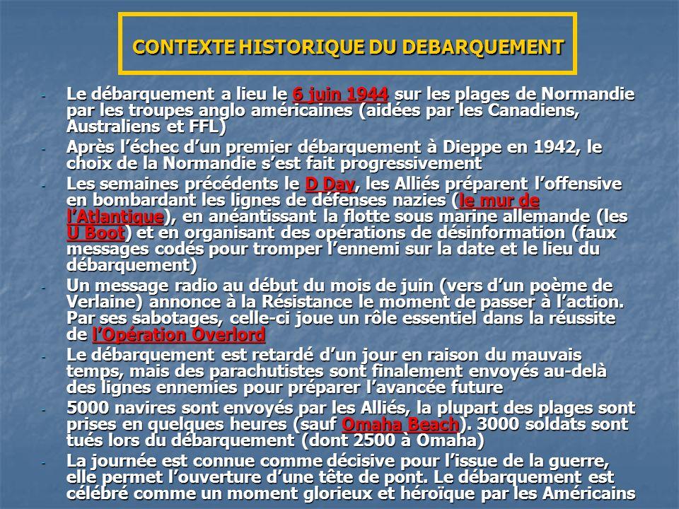 CONTEXTE HISTORIQUE DU DEBARQUEMENT