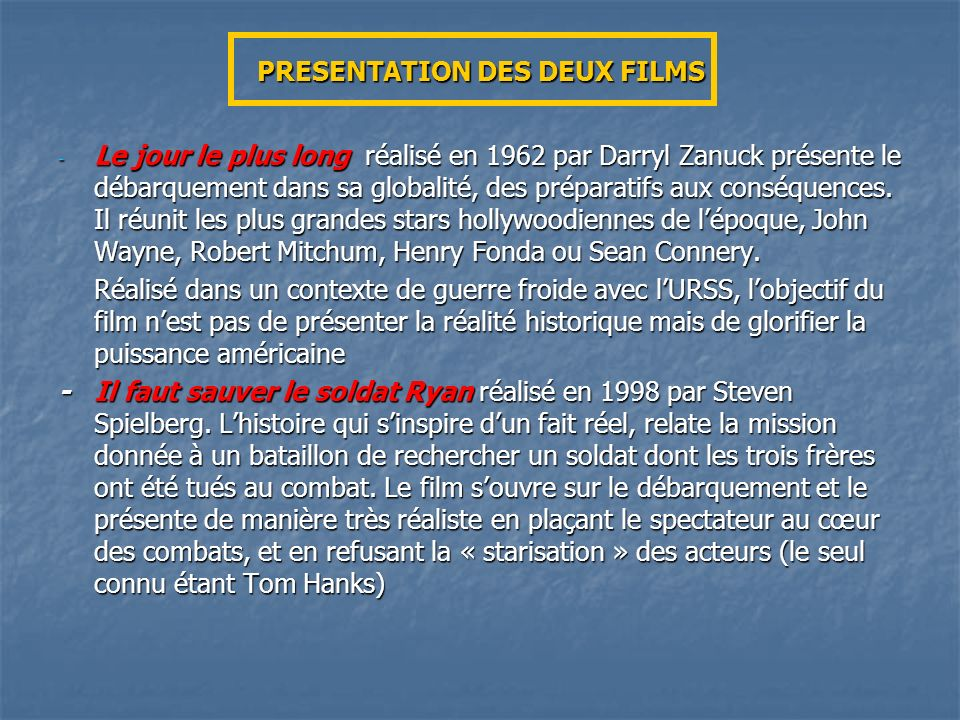 PRESENTATION DES DEUX FILMS