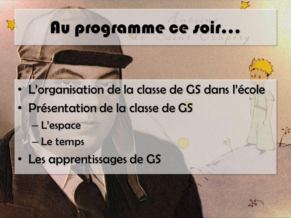 Au programme ce soir… L'organisation de la classe de GS dans l'école