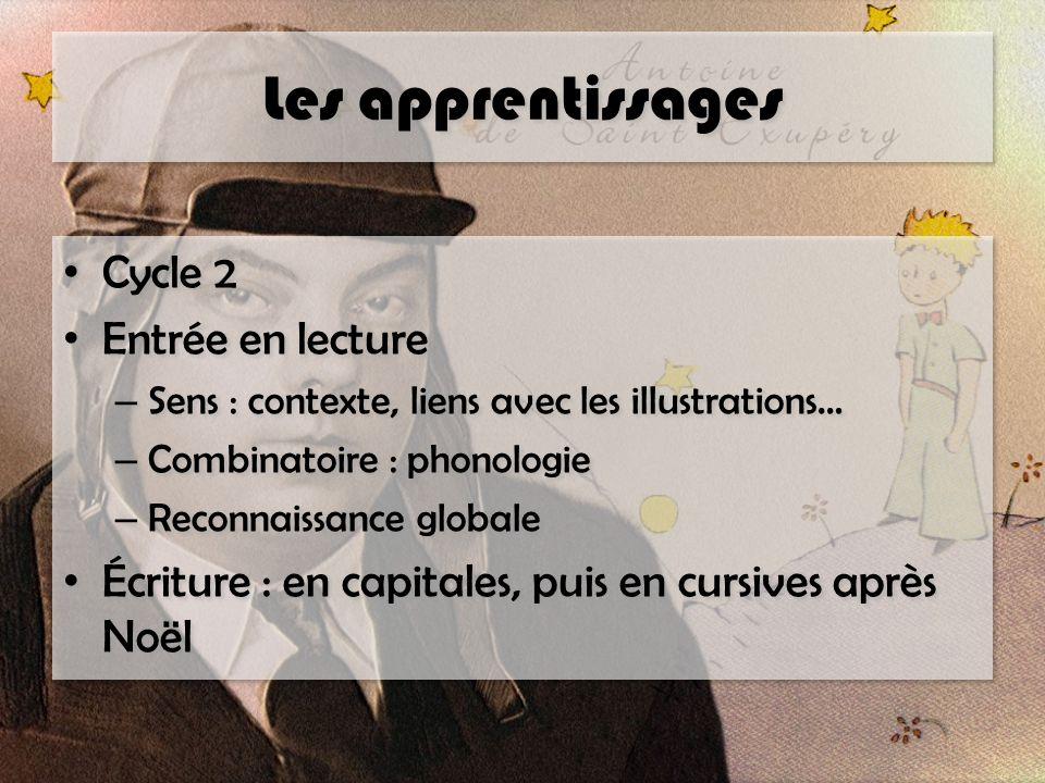 Les apprentissages Cycle 2 Entrée en lecture