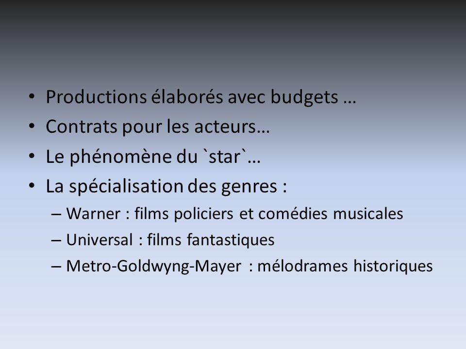 Productions élaborés avec budgets … Contrats pour les acteurs…