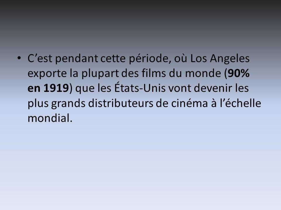 C'est pendant cette période, où Los Angeles exporte la plupart des films du monde (90% en 1919) que les États-Unis vont devenir les plus grands distributeurs de cinéma à l'échelle mondial.
