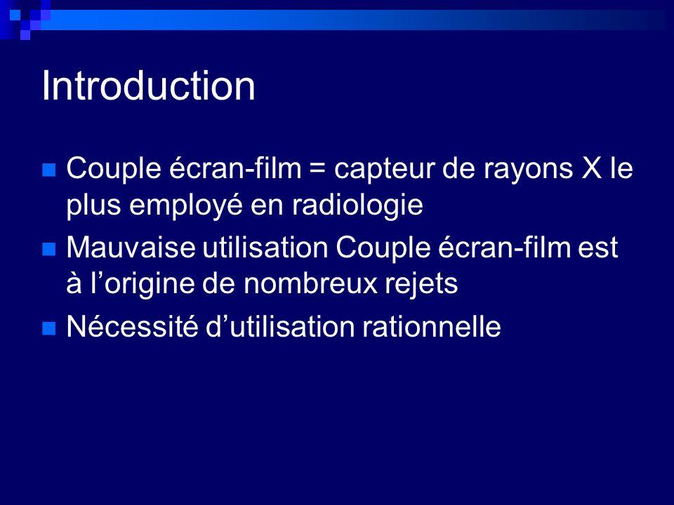 Introduction Couple écran-film = capteur de rayons X le plus employé en radiologie.