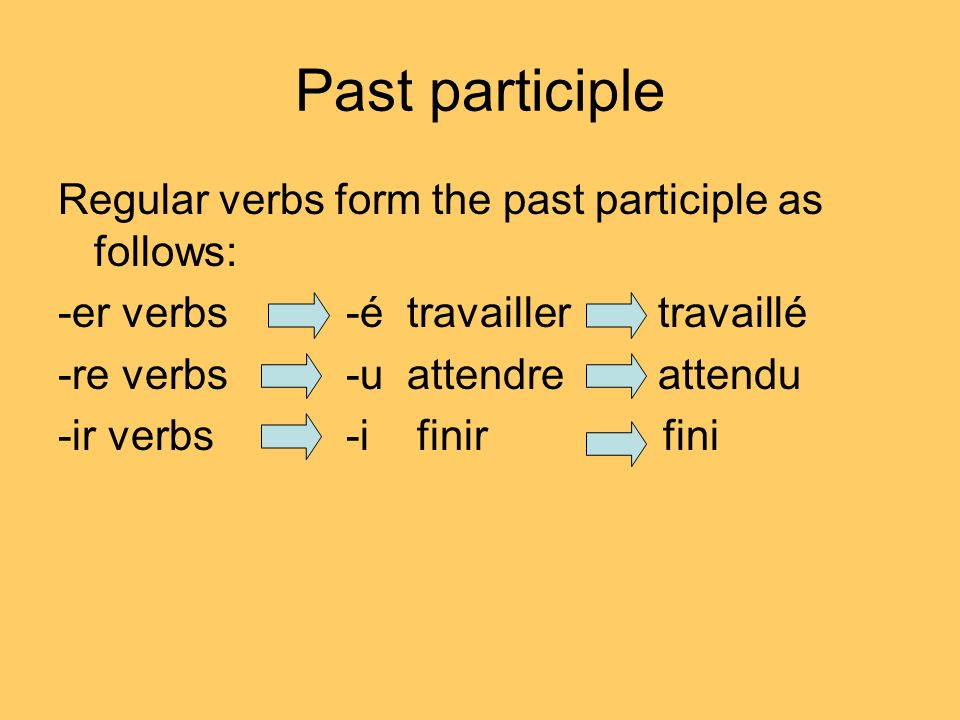 Past participle Regular verbs form the past participle as follows: