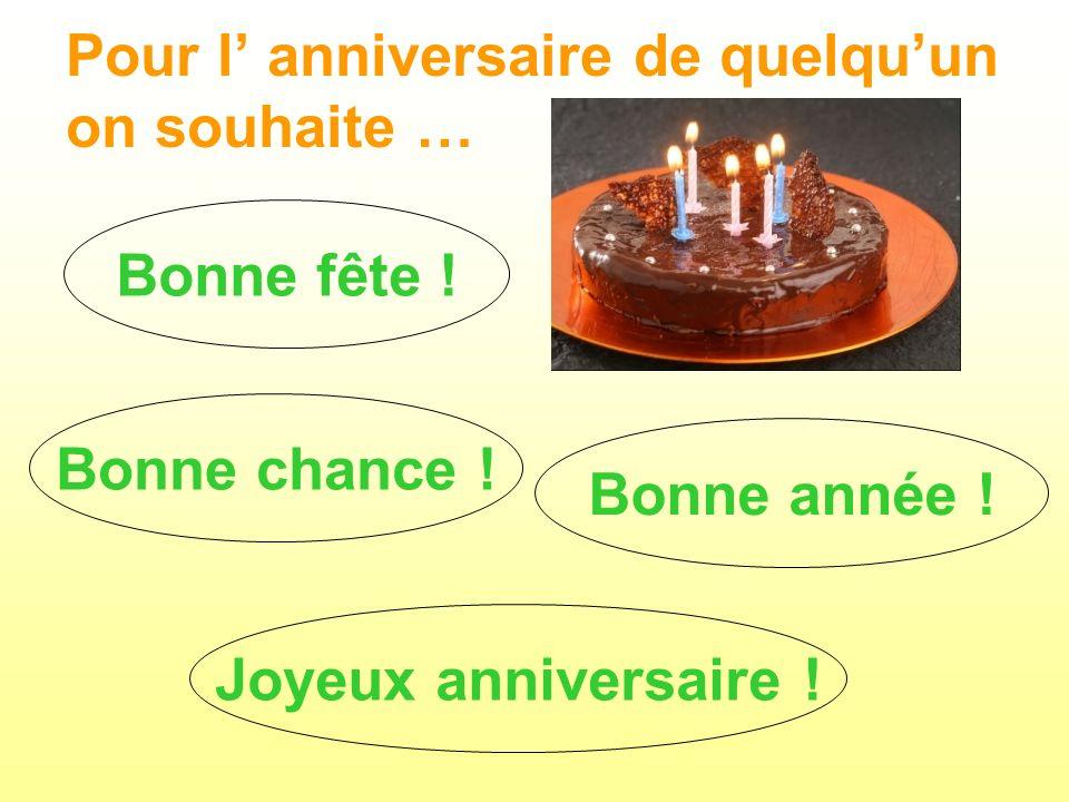 Pour l' anniversaire de quelqu'un on souhaite …