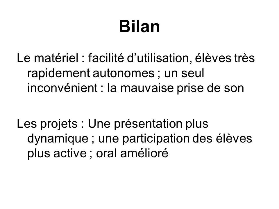 Bilan Le matériel : facilité d'utilisation, élèves très rapidement autonomes ; un seul inconvénient : la mauvaise prise de son.