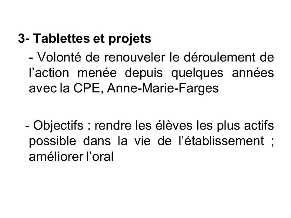 3- Tablettes et projets - Volonté de renouveler le déroulement de l'action menée depuis quelques années avec la CPE, Anne-Marie-Farges.