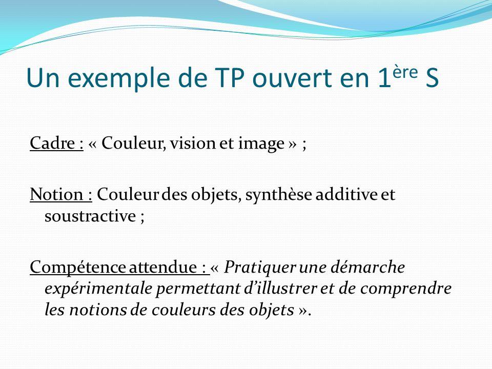 Un exemple de TP ouvert en 1ère S