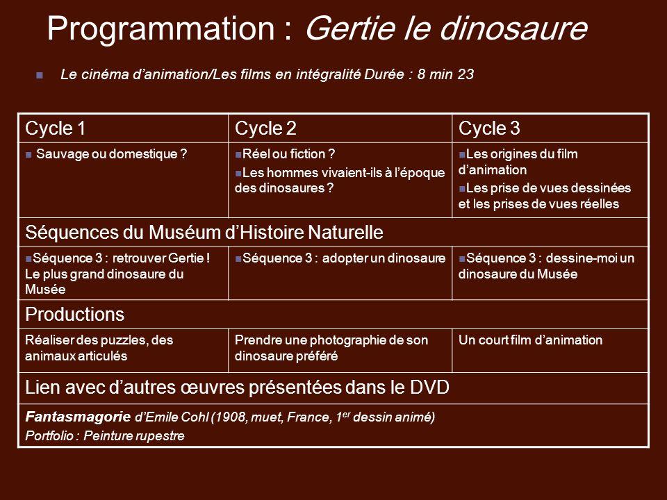 Programmation : Gertie le dinosaure
