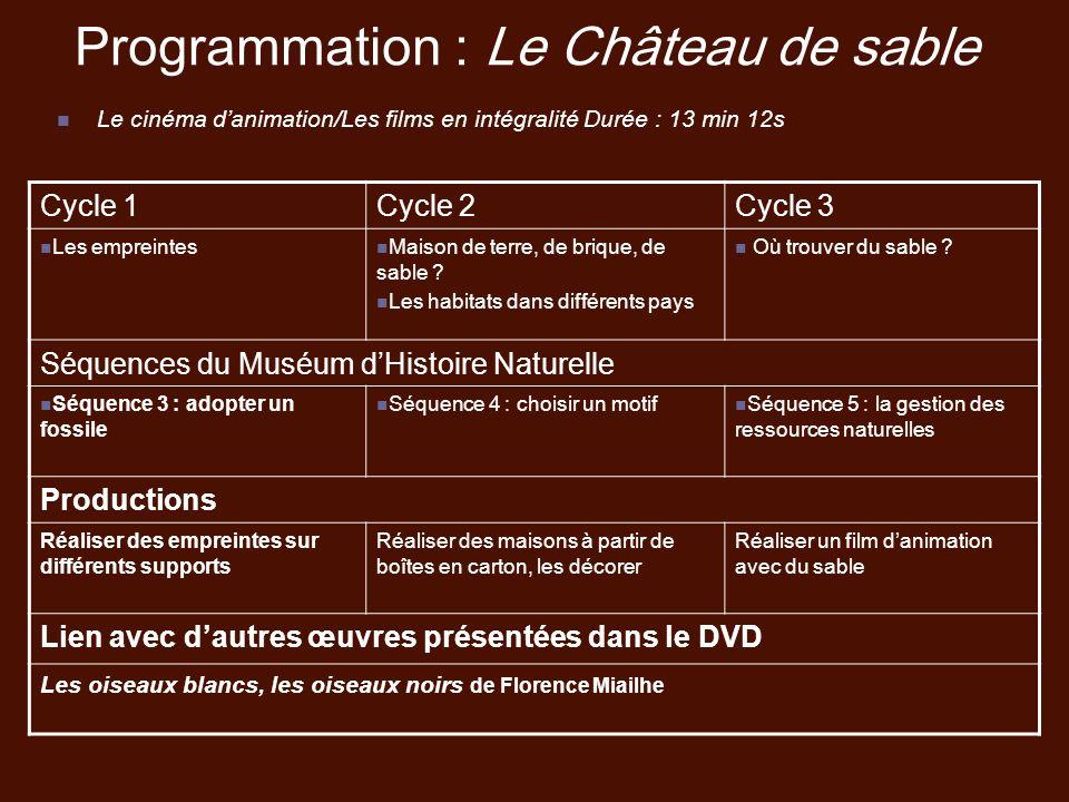 Programmation : Le Château de sable