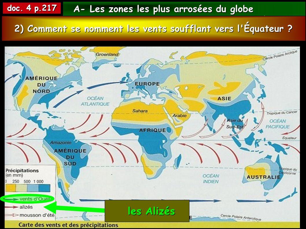 les Alizés A- Les zones les plus arrosées du globe