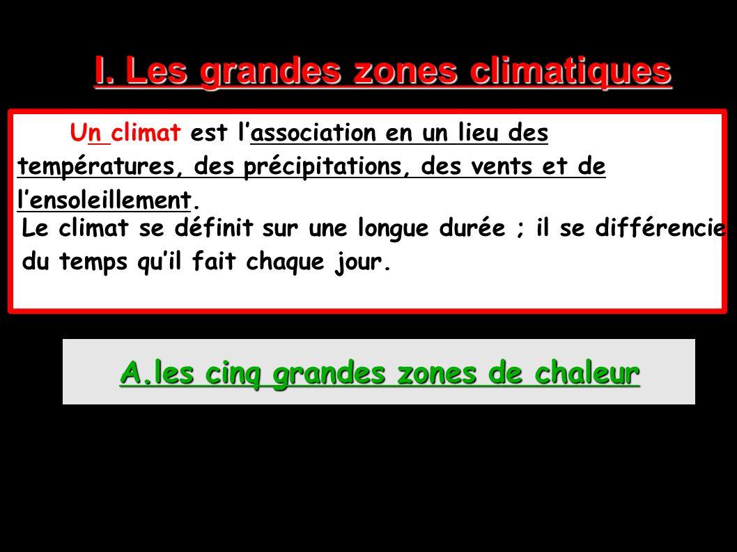 I. Les grandes zones climatiques