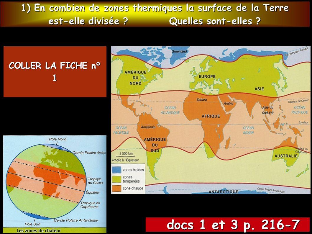 1) En combien de zones thermiques la surface de la Terre