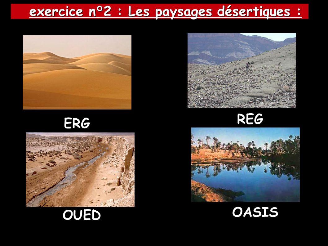 exercice n°2 : Les paysages désertiques :