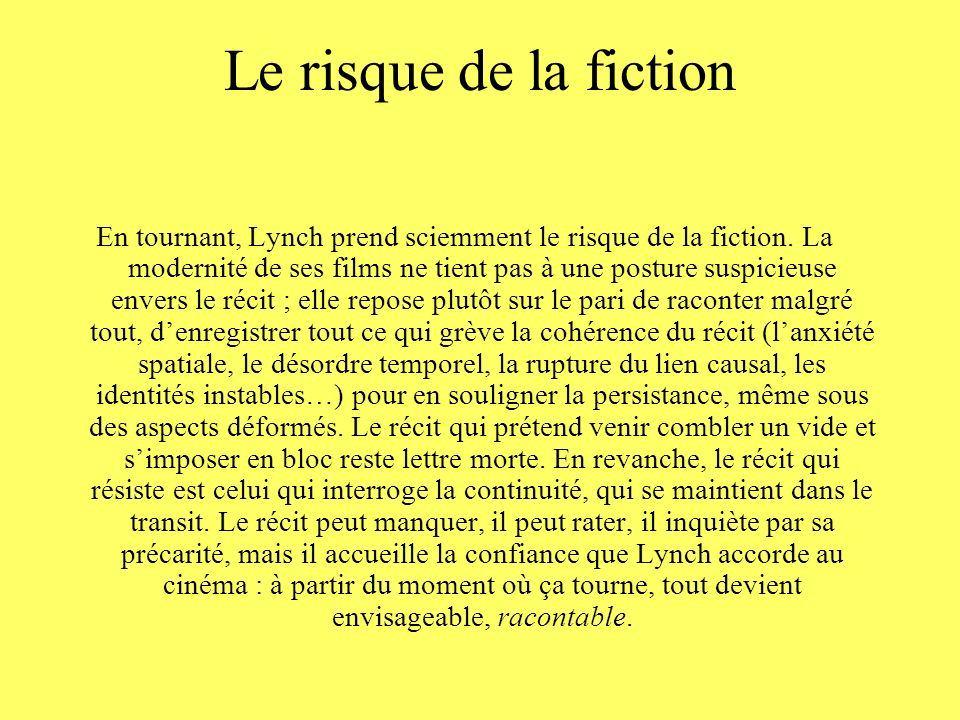 Le risque de la fiction