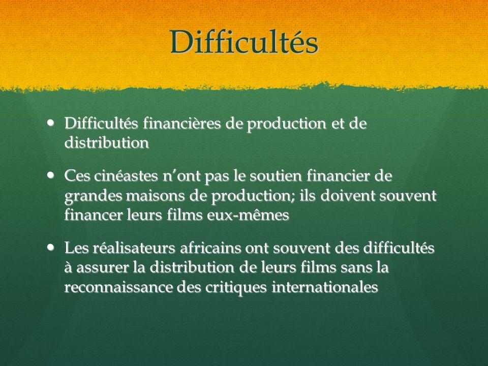 Difficultés Difficultés financières de production et de distribution