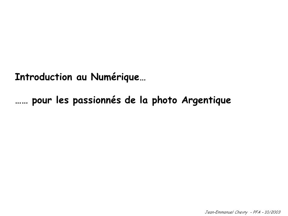 Introduction au Numérique…