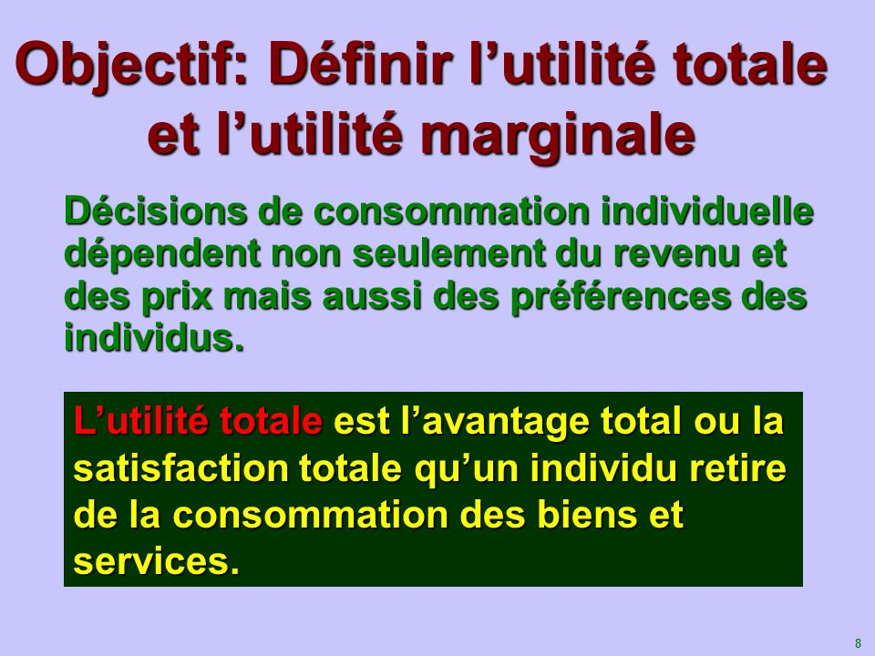 Objectif: Définir l'utilité totale et l'utilité marginale