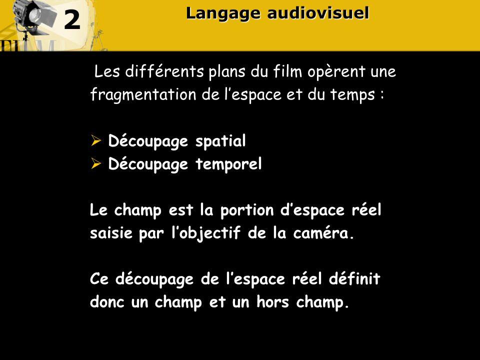2 Langage audiovisuel Les différents plans du film opèrent une
