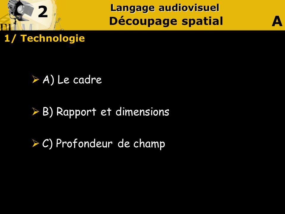 2 A Découpage spatial A) Le cadre B) Rapport et dimensions