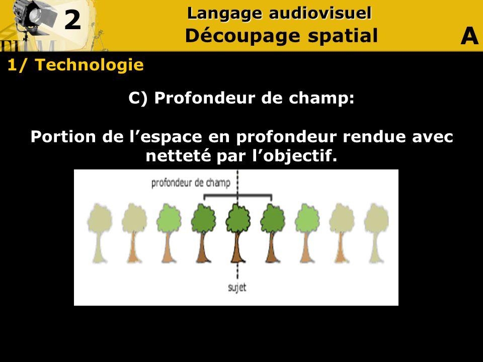2 A Découpage spatial Langage audiovisuel 1/ Technologie