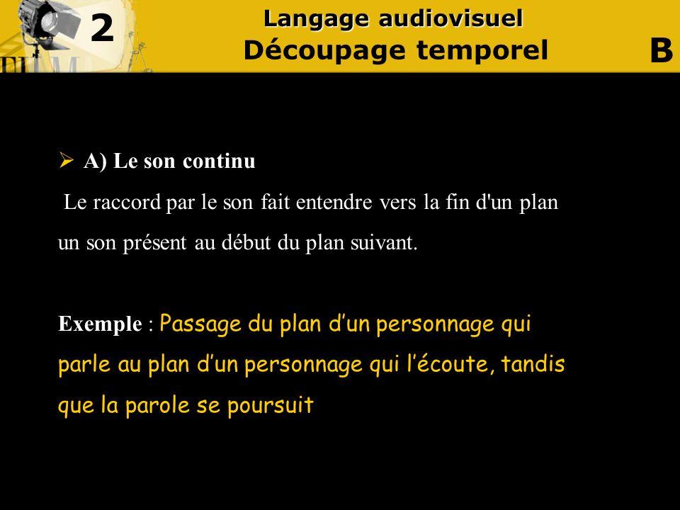 2 B Découpage temporel Langage audiovisuel A) Le son continu