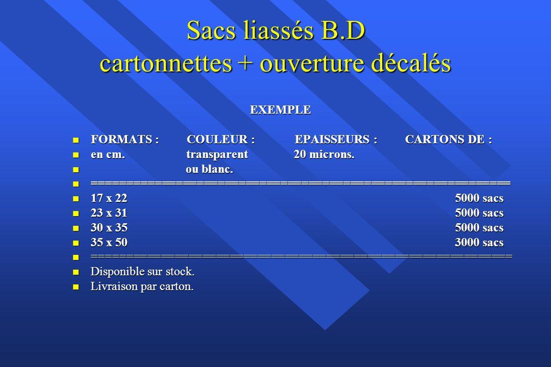 Sacs P.R. classiques avec poignées rapportées rigides en polyéthylène BD blanc ou marron