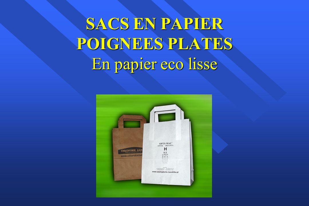 SACS EN PAPIER POIGNEES TORSADEES En papier ECO LISSE ou TRAME BLANC LISSE ou TRAME