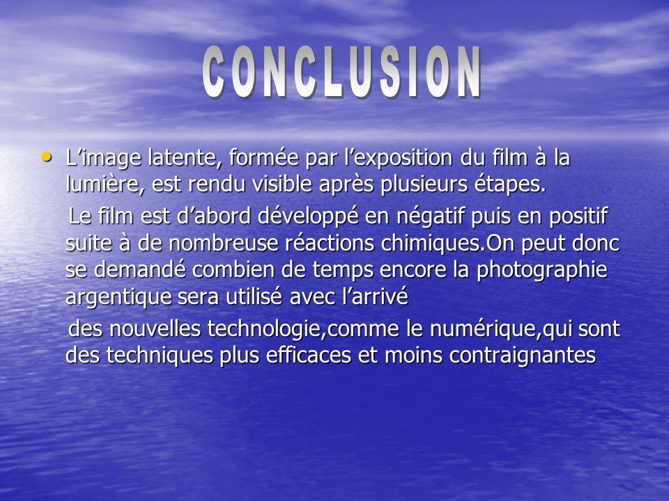 CONCLUSION L'image latente, formée par l'exposition du film à la lumière, est rendu visible après plusieurs étapes.