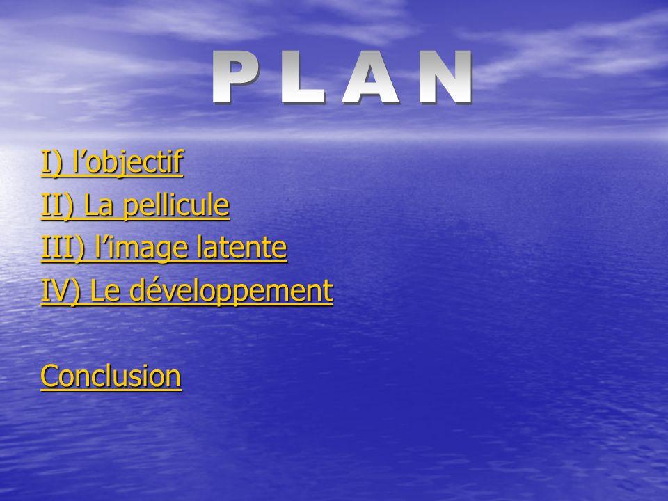 PLAN I) l'objectif II) La pellicule III) l'image latente