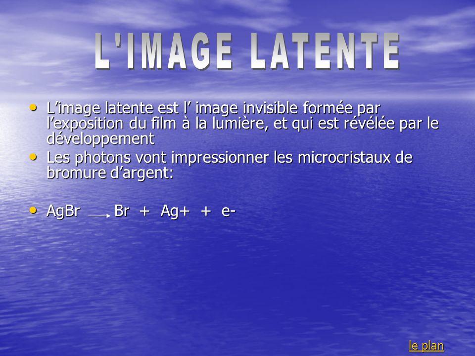 L IMAGE LATENTE L'image latente est l' image invisible formée par l'exposition du film à la lumière, et qui est révélée par le développement.