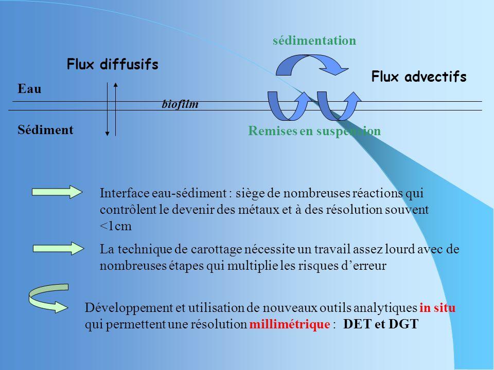 sédimentation Flux diffusifs Flux advectifs Eau Sédiment