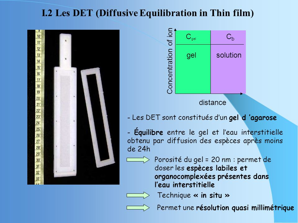 I.2 Les DET (Diffusive Equilibration in Thin film)