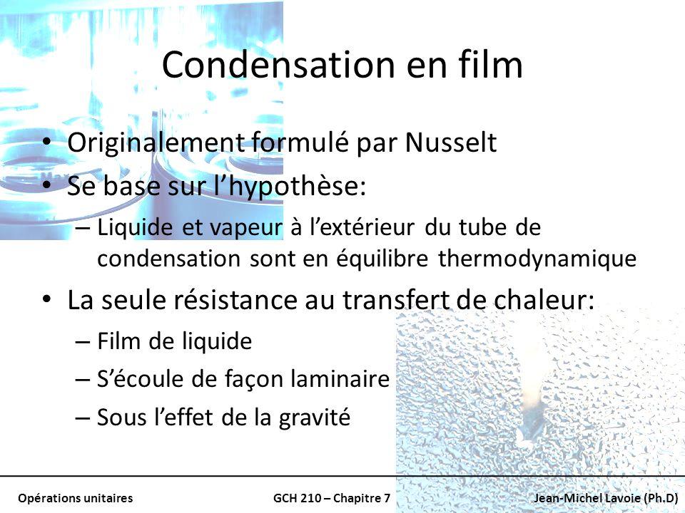 Condensation en film Originalement formulé par Nusselt