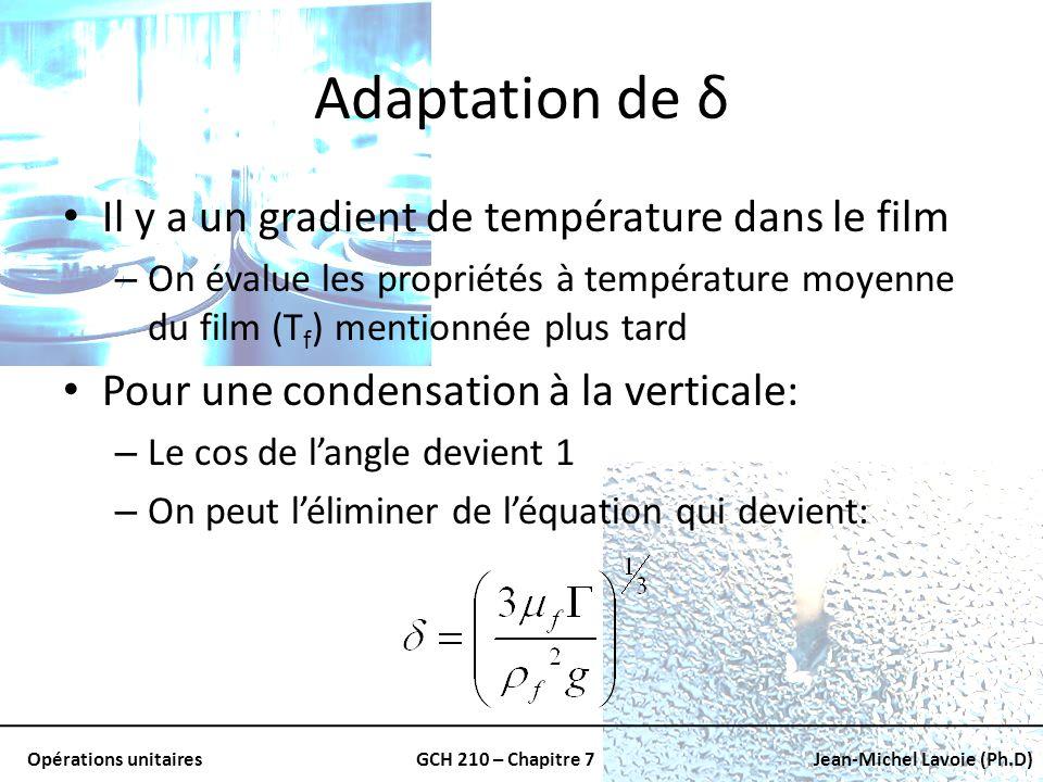 Adaptation de δ Il y a un gradient de température dans le film