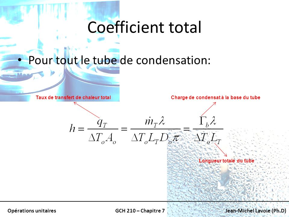 Coefficient total Pour tout le tube de condensation: