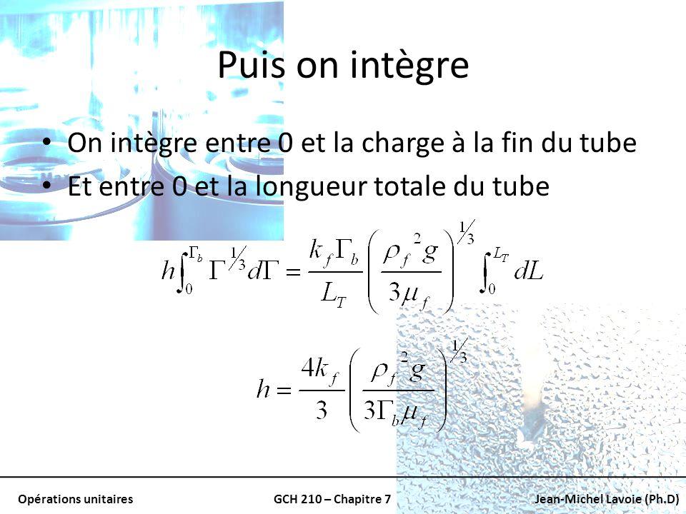 Puis on intègre On intègre entre 0 et la charge à la fin du tube