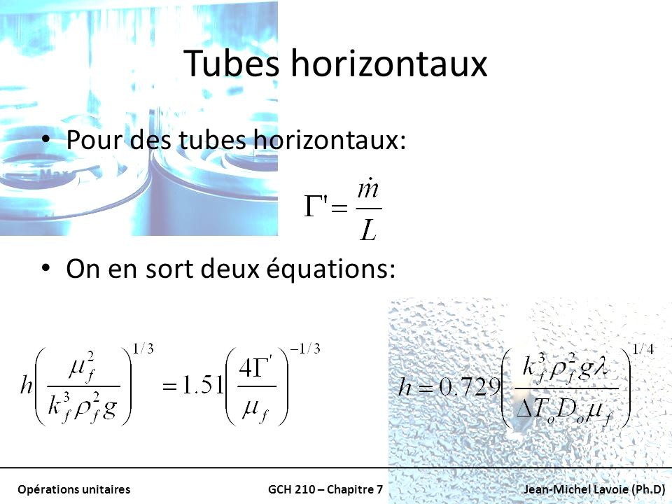 Tubes horizontaux Pour des tubes horizontaux: