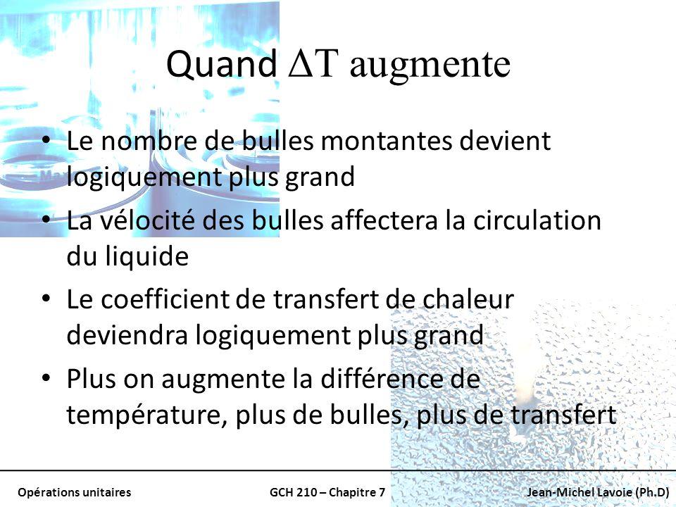 Quand ΔT augmente Le nombre de bulles montantes devient logiquement plus grand. La vélocité des bulles affectera la circulation du liquide.