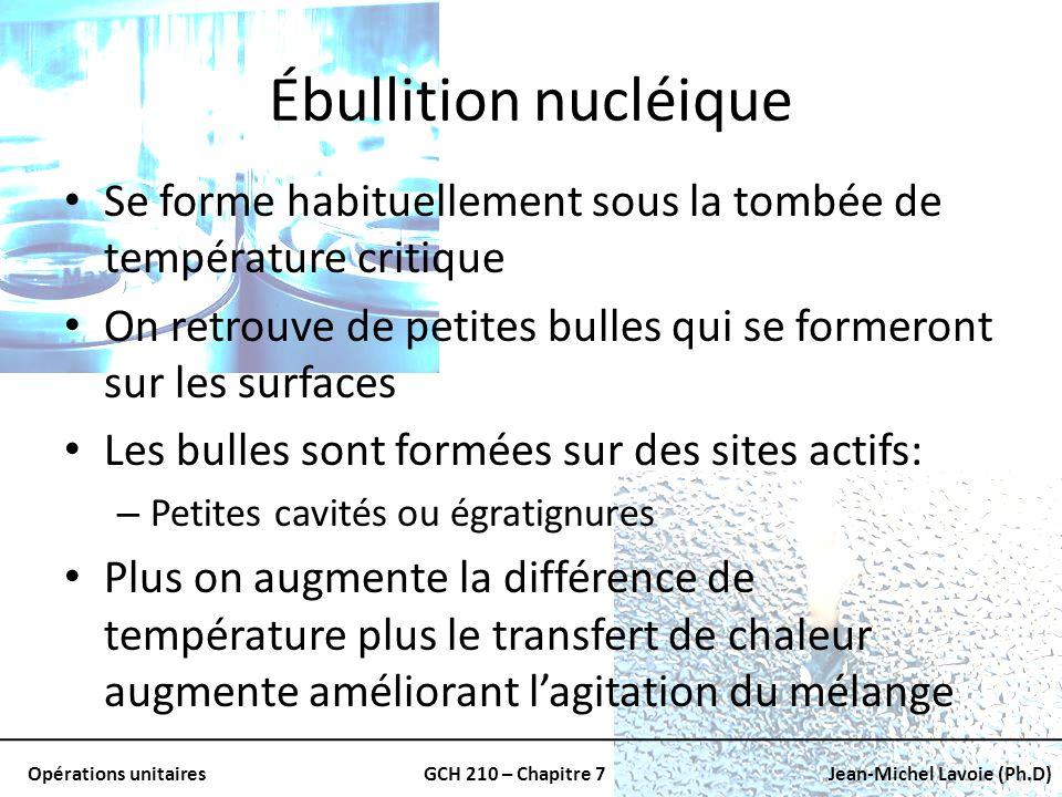 Ébullition nucléique Se forme habituellement sous la tombée de température critique. On retrouve de petites bulles qui se formeront sur les surfaces.