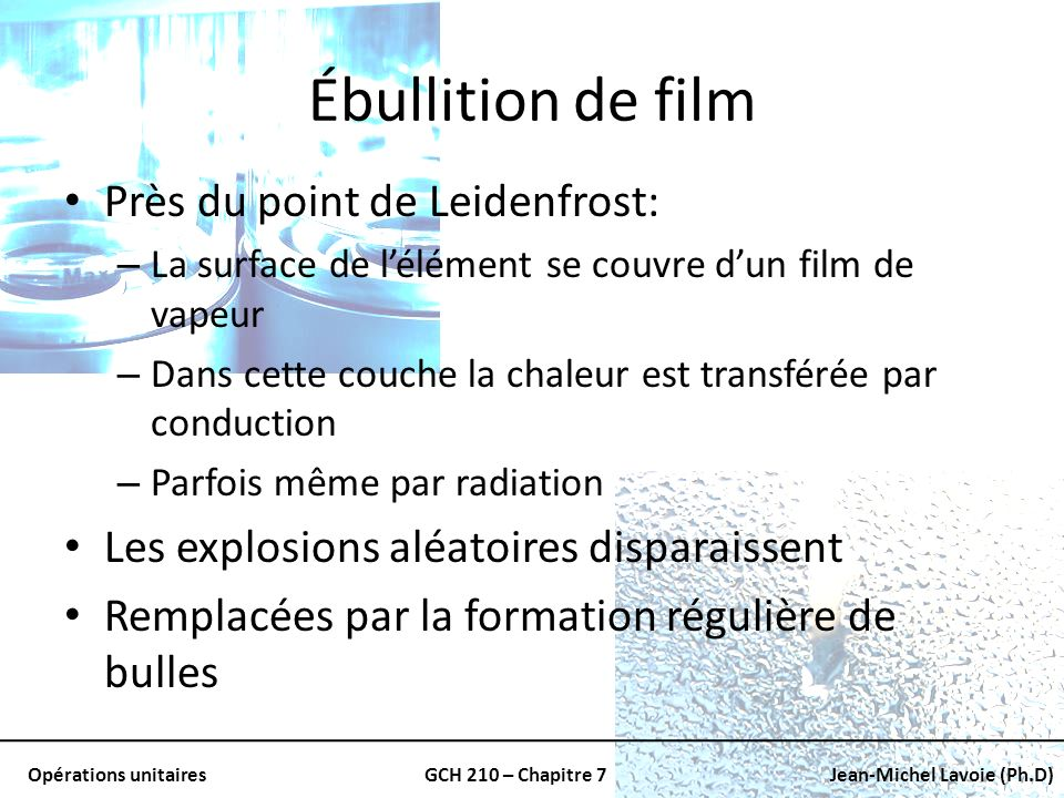 Ébullition de film Près du point de Leidenfrost: