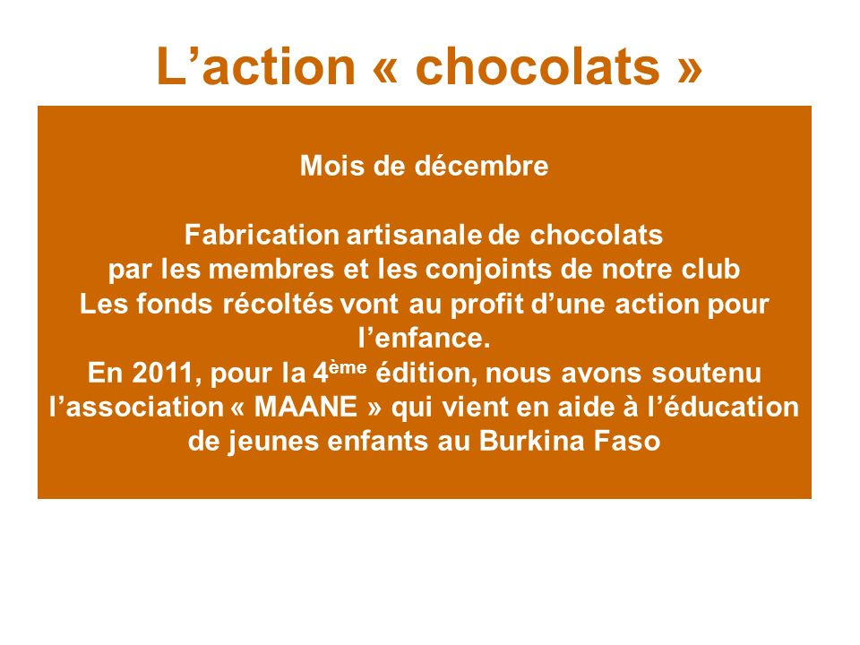 L'action « chocolats »