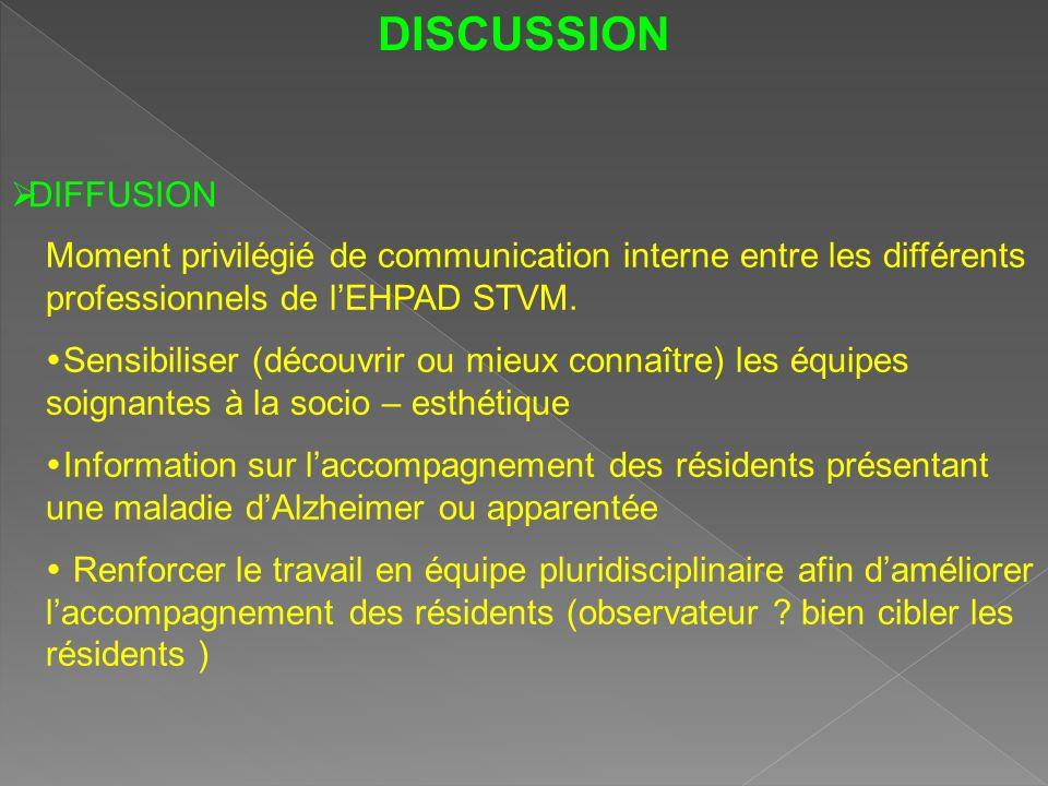 DISCUSSION DIFFUSION. Moment privilégié de communication interne entre les différents professionnels de l'EHPAD STVM.