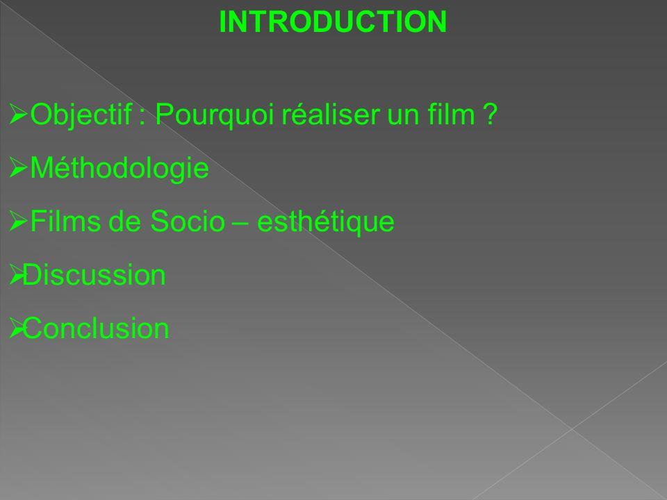 INTRODUCTION Objectif : Pourquoi réaliser un film Méthodologie. Films de Socio – esthétique. Discussion.