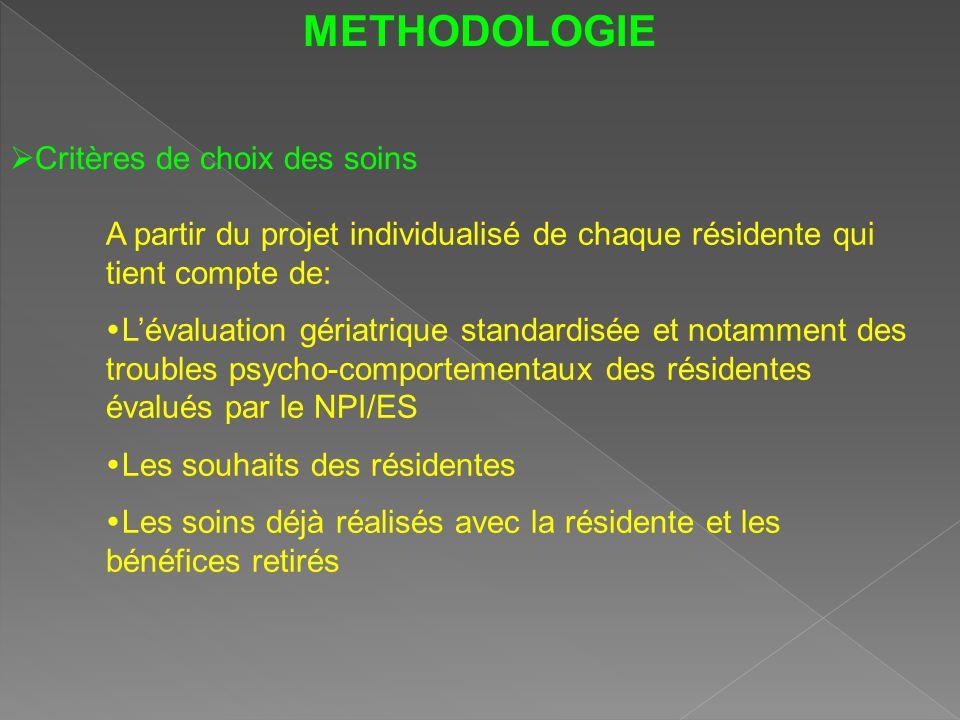 METHODOLOGIE Critères de choix des soins
