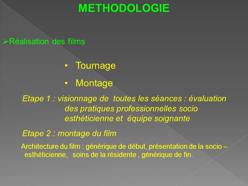 METHODOLOGIE Tournage Montage Réalisation des films